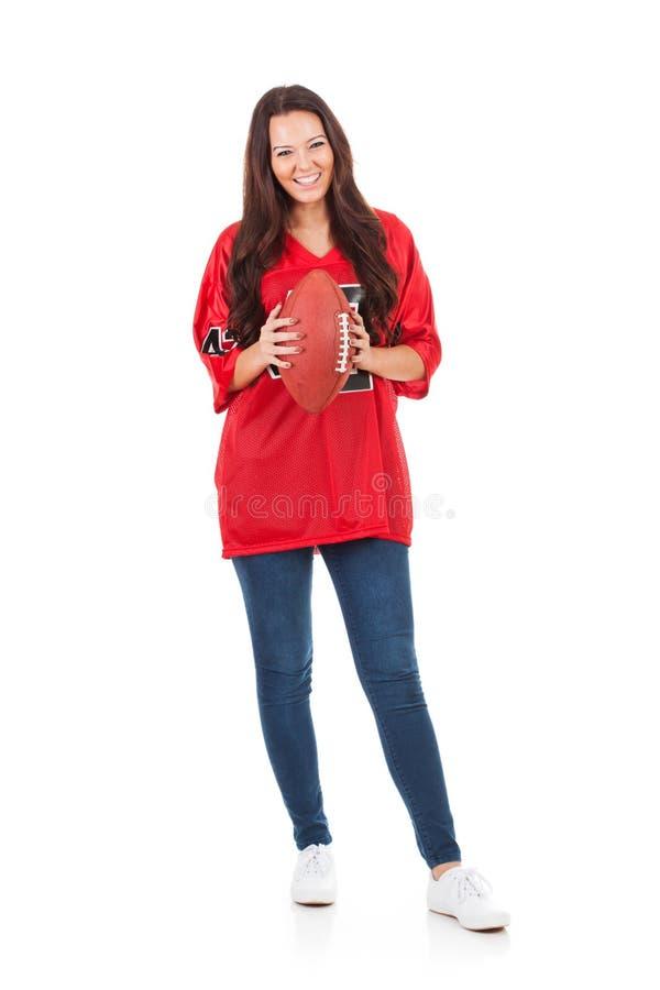 Futbol: Uśmiechnięta kobieta Trzyma Futbolowego Przygotowywa Dla gry zdjęcia stock