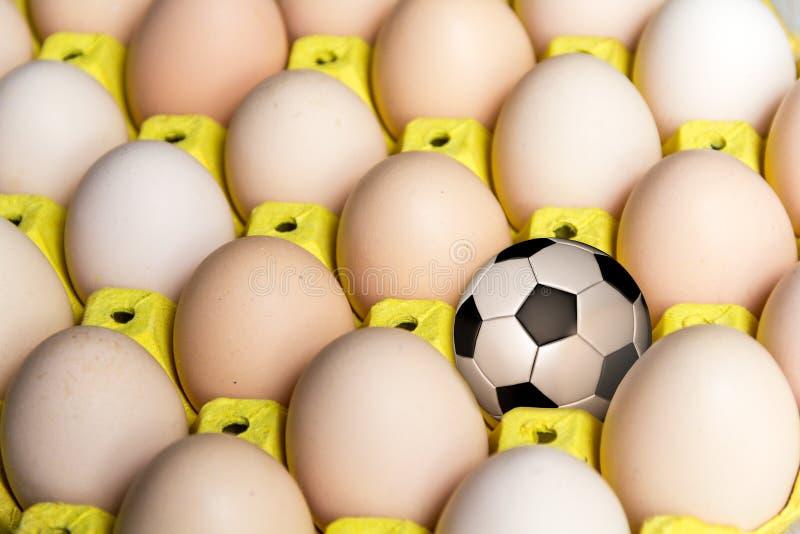Futbol w jajecznej tacy obraz stock