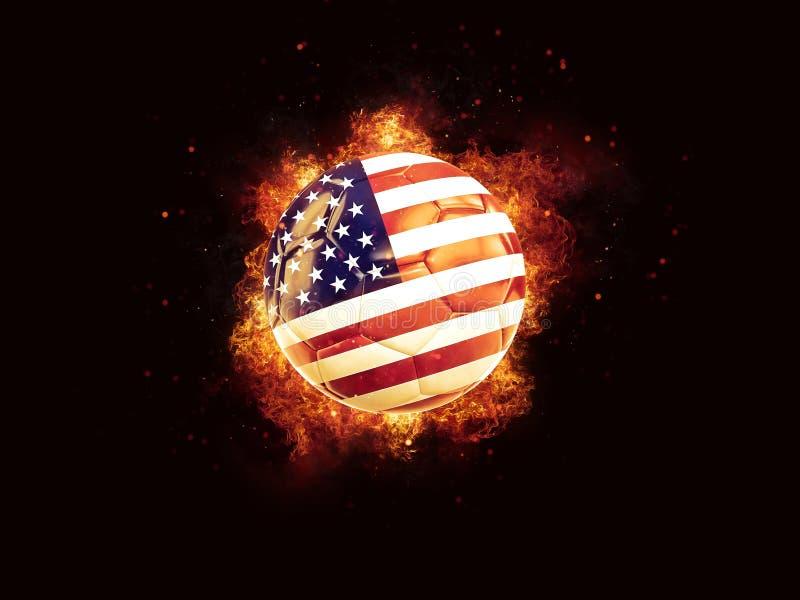 Futbol w płomieniach z flaga zlani stany America royalty ilustracja