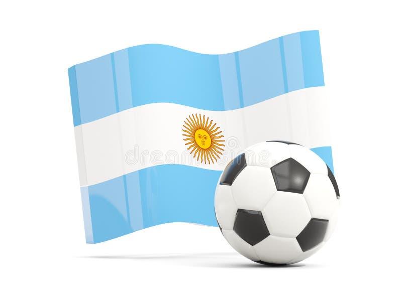 Futbol z falowanie flaga Argentina odizolowywał na bielu ilustracji