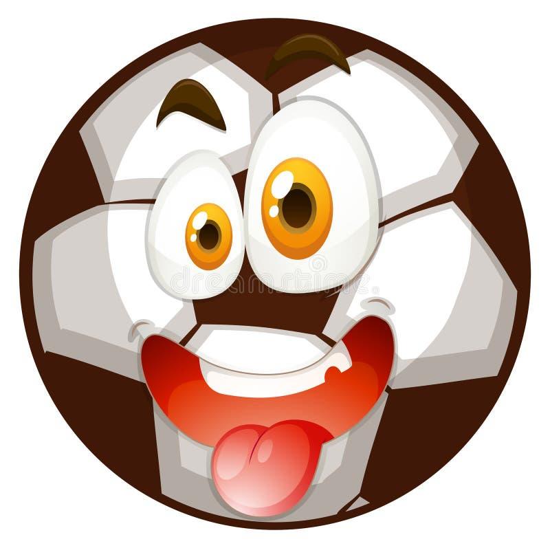 Download Futbol z szczęśliwą twarzą ilustracja wektor. Ilustracja złożonej z śmieszny - 57657556