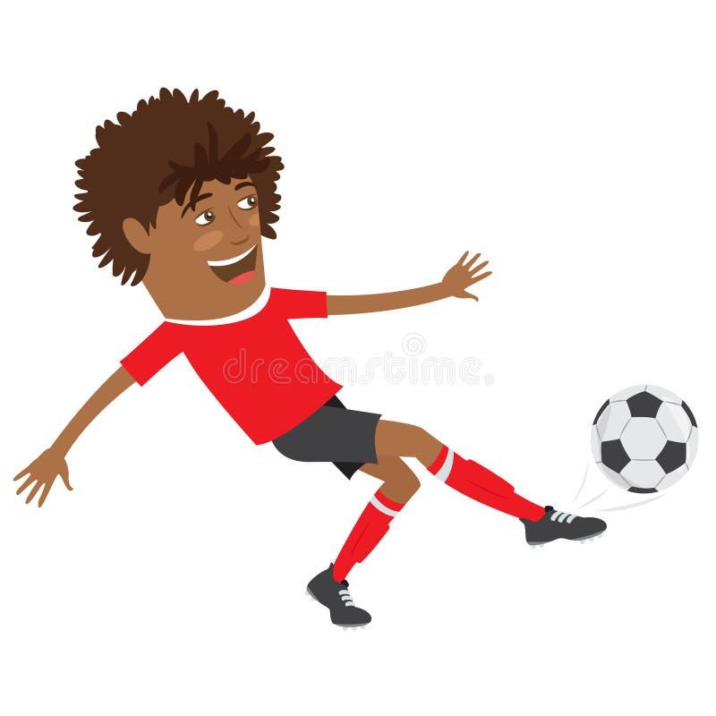 Futbolista afroamericano divertido del fútbol que lleva el t-shir rojo stock de ilustración