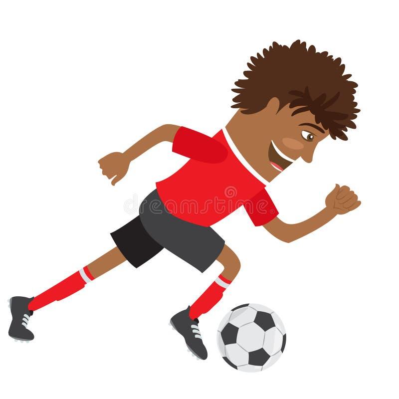 Futbolista afroamericano divertido del fútbol que lleva el t-shir rojo ilustración del vector
