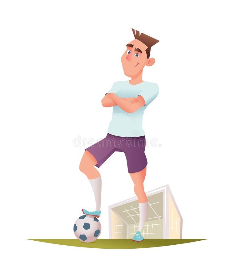 Futbolista alegre divertido que se coloca en un campo de fútbol cerca de la puerta Ejemplo del diseño de personaje de dibujos ani ilustración del vector