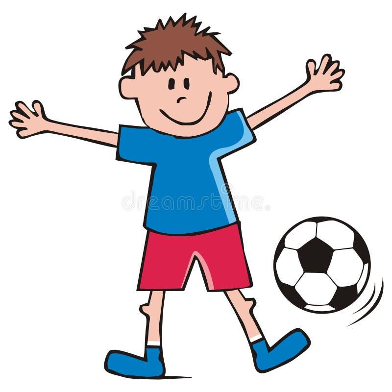 Futbolista, chłopiec i piłki nożnej piłka, śmieszna wektorowa ikona royalty ilustracja