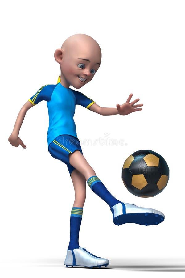 Futbolista chłopiec kreskówka bawić się futbol ilustracji