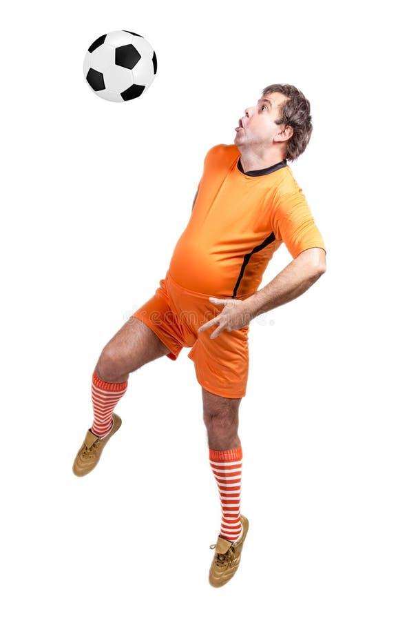 Futbolista gordo recreativo fotografía de archivo
