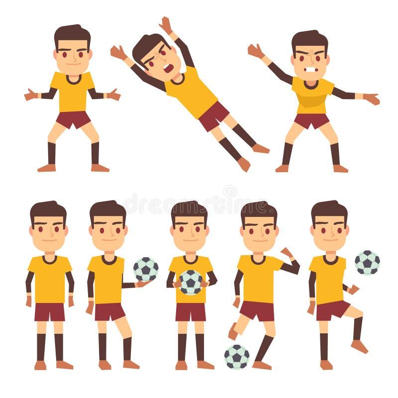 Futbolista, gracz piłki nożnej, bramkarz w różnych hazard pozach ustawia wektorowi płascy charaktery ilustracja wektor