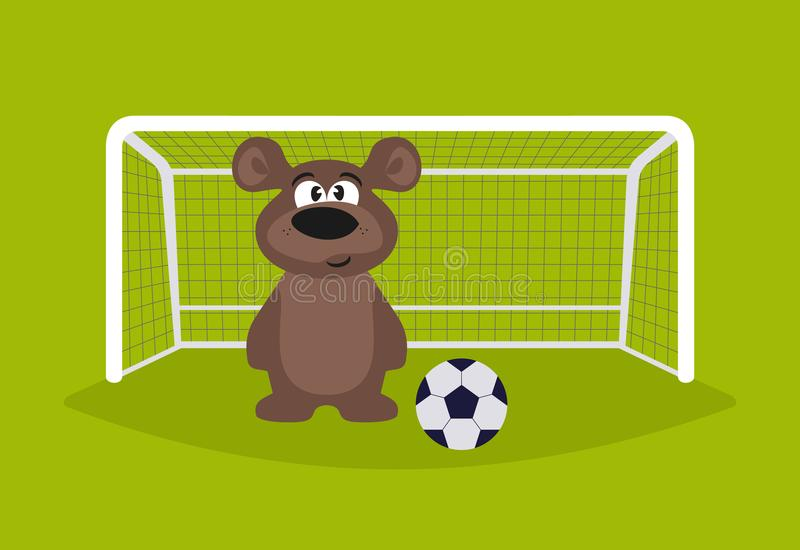 futbolista Niedźwiadkowy bramkarz Niedźwiadkowy bawić się futbol animacja ilustracji