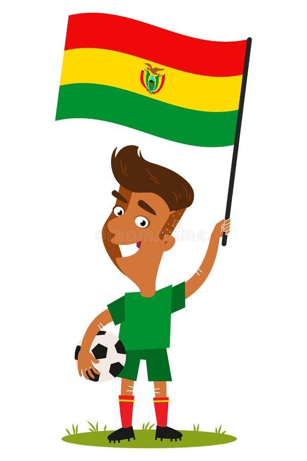 Futbolista para Bolivia, hombre de la historieta que sostiene la bandera boliviana que lleva la camisa y pantalones cortos verdes ilustración del vector