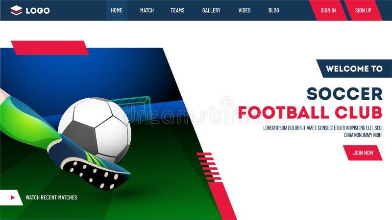 Futbolista que golpea el balón de fútbol con el pie en fondo del estadio de la noche stock de ilustración
