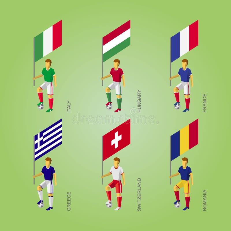 Futbolistas con las banderas: Francia, Rumania, Hungría, Italia, interruptor stock de ilustración