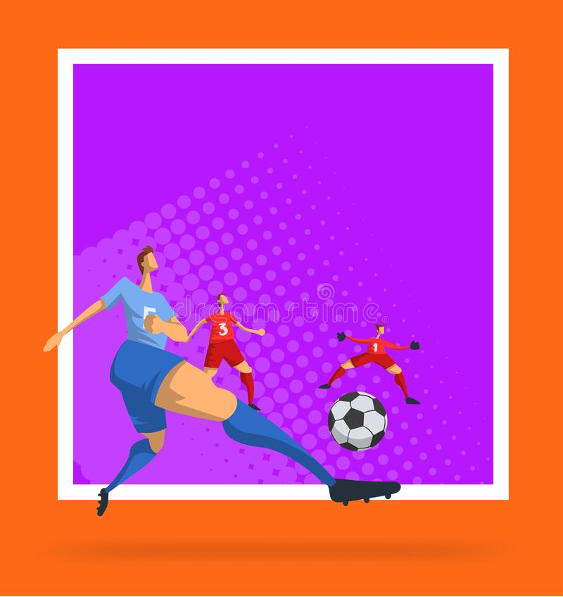 Futbolistas del fútbol en estilo plano abstracto Plantilla para el cartel del deporte Ilustración del vector ilustración del vector