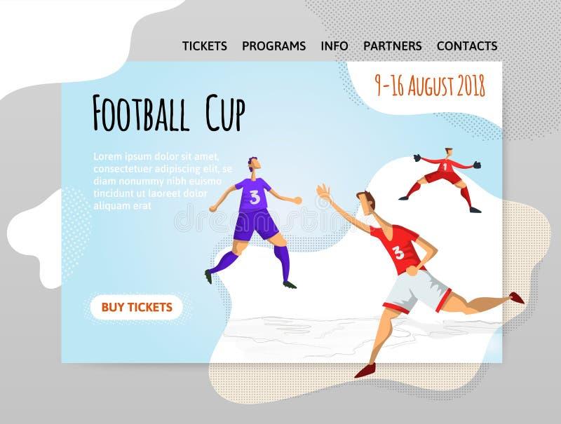 Futbolistas del fútbol en estilo plano abstracto Vector el illutration, la plantilla del diseño del sitio del deporte, la bandera ilustración del vector
