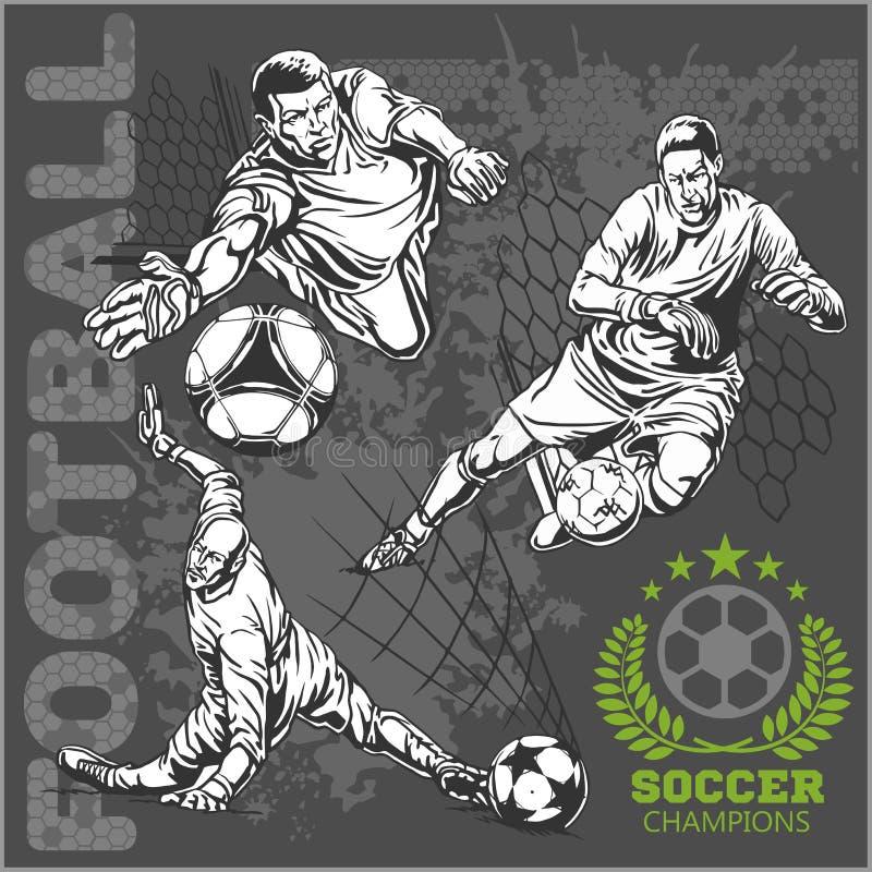Futbolistas del fútbol y más los emblemas para el deporte stock de ilustración