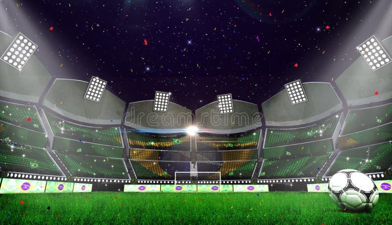 Futbolowa arena Marokańczyk flaga ilustracja wektor