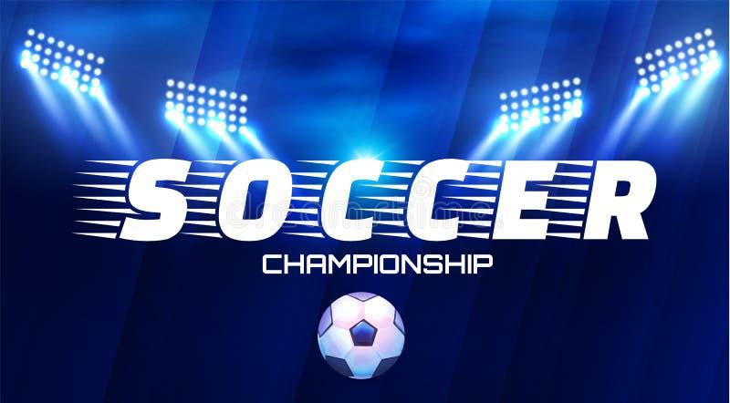 Futbolowa arena z światłami Stadium Piłkarski światła reflektorów z piłką i projektory ilustracja wektor