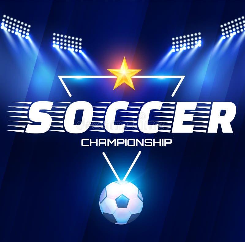 Futbolowa arena z światłami Stadium Piłkarski światła reflektorów z piłką i projektory ilustracji
