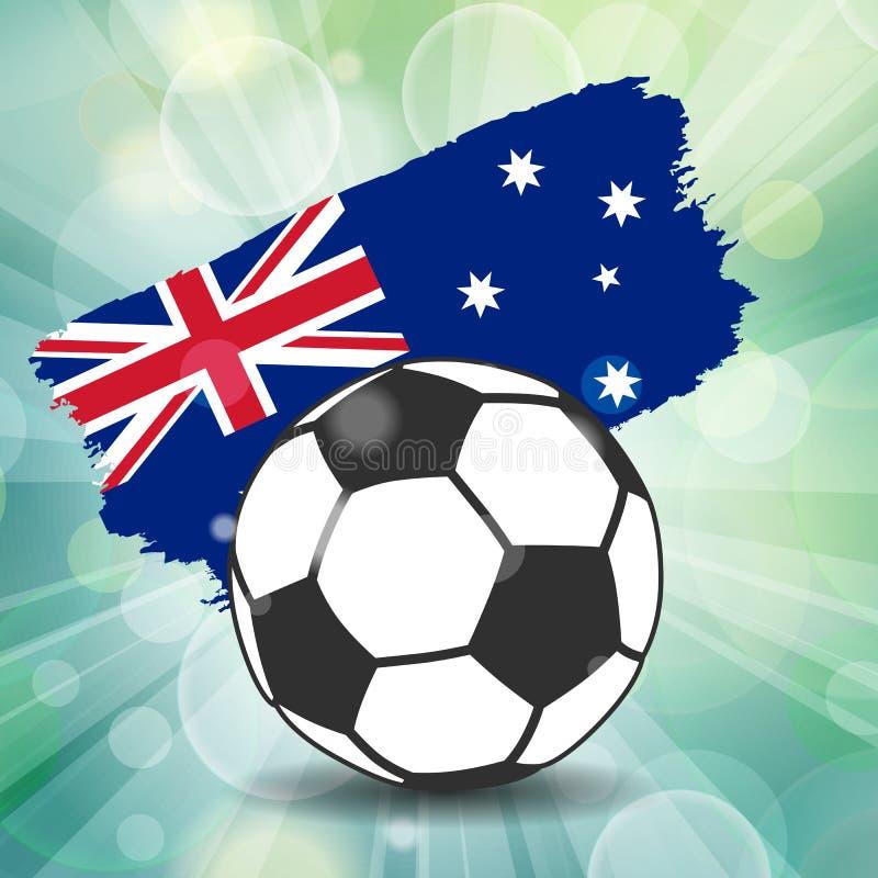futbolowa balowa ikona na australijczyk flaga tle od szczotkarskiego stro ilustracji
