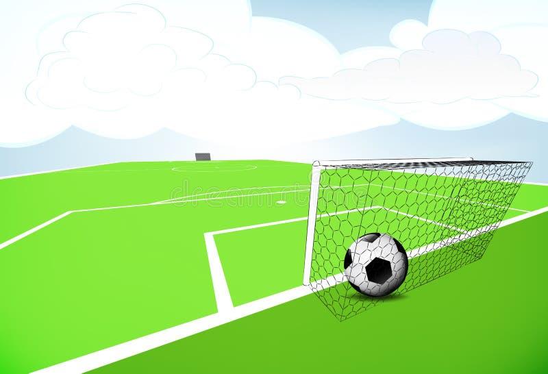 Futbolowa boisko scena z bramkowym wynikiem z chmurnym niebem ilustracji