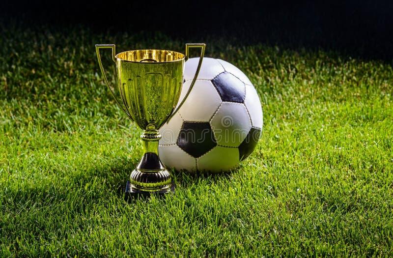 Futbolowa filiżanka z futbolową piłką zdjęcie royalty free