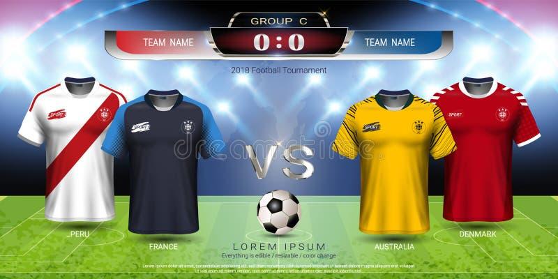 Futbolowa filiżanki 2018 drużyna grupowy C, piłki nożnej bydło z tablica wyników egzaminem próbnym royalty ilustracja