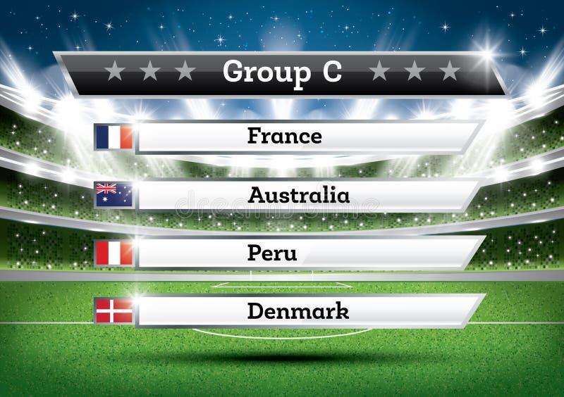 Futbolowa mistrzostwo grupa C Piłka nożna światu turniej Remis Res ilustracja wektor