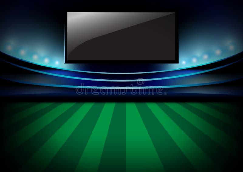 Futbolowa nocy arena, piłki nożnej noc stadium, i monitoru wektoru d ilustracji