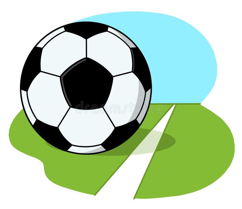 Futbolowa Piłka Na śródpolnej Ilustraci Zdjęcie Stock