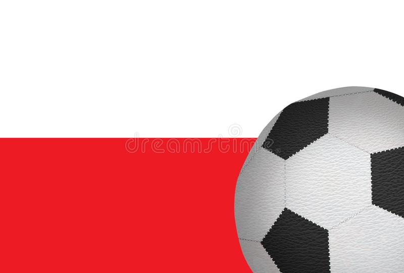 Futbolowa piłka przeciw flaga Polska zdjęcie stock