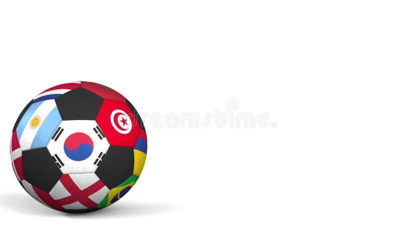 Futbolowa piłka uwypukla różną drużyna narodowa. akcentów flaga Południowy Korea świadczenia 3 d obrazy stock