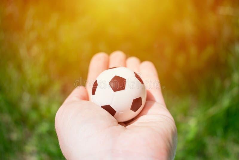 Futbolowa piłka w żeńskiej ręce na tle zielona trawa i su zdjęcia stock
