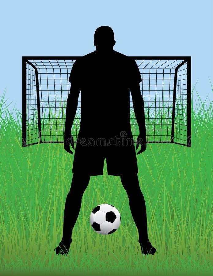 Futbolowa (piłki nożnej) gracz sylwetka obraz stock