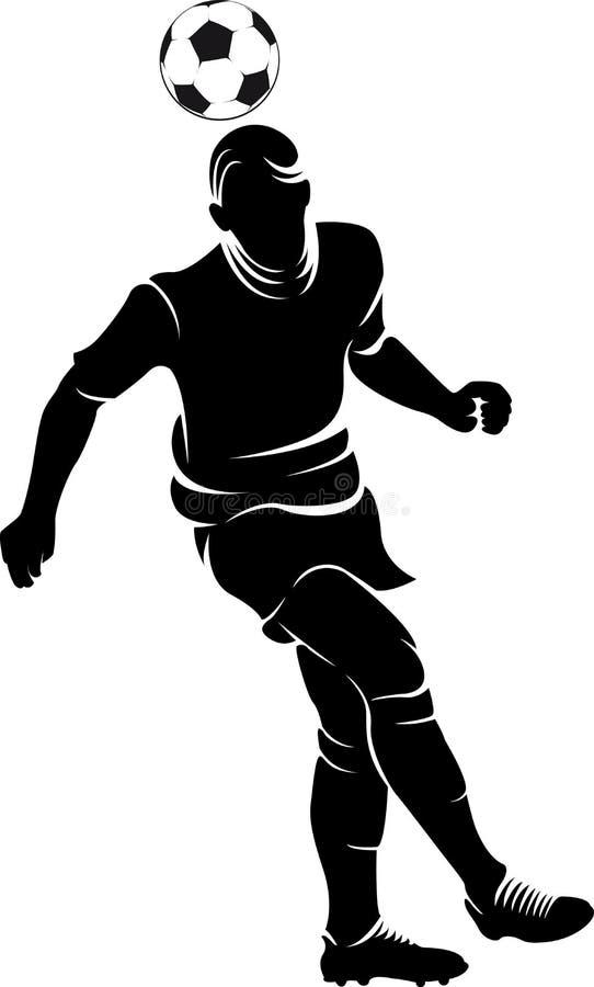 Futbolowa (piłki nożnej) gracz sylwetka z piłką odizolowywającą ilustracja wektor