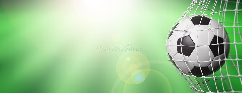 Futbolowa piłki nożnej piłka w celu, zieleni śródpolny tło 3d ilustracji