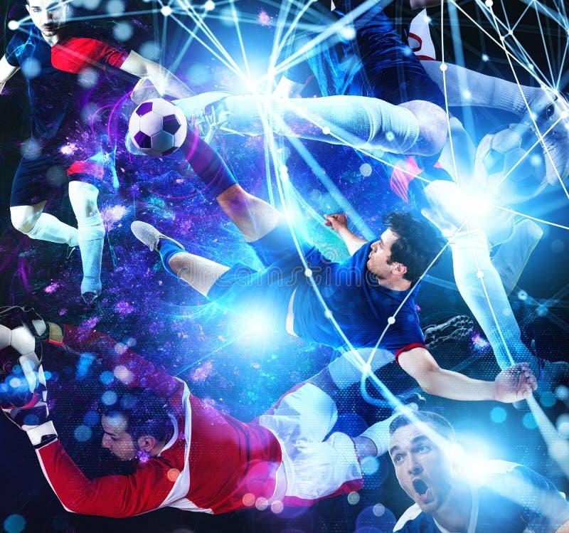 Futbolowa scena z gracz piłki nożnej przed futurystycznym cyfrowym tłem zdjęcia stock
