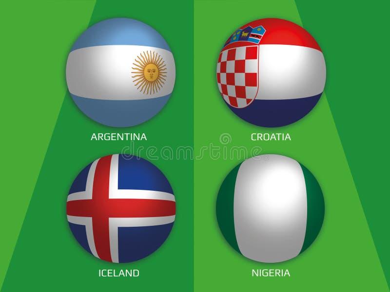 Futbolowe Światowe mistrzostwo grupy z Argentyna, Chorwacja, Iceland i Nigeria -, ilustracja wektor
