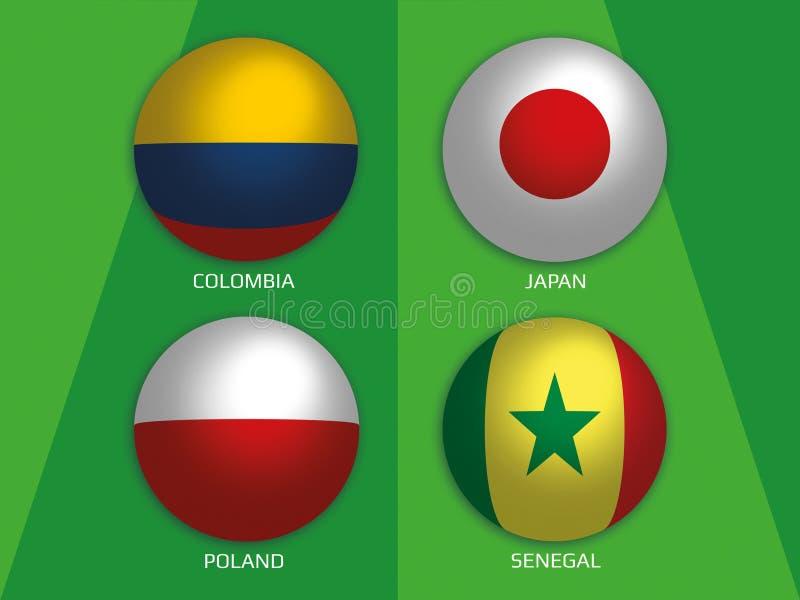 Futbolowe Światowe mistrzostwo grupy z Kolumbia, Japonia, Polska i Senegal -, ilustracja wektor