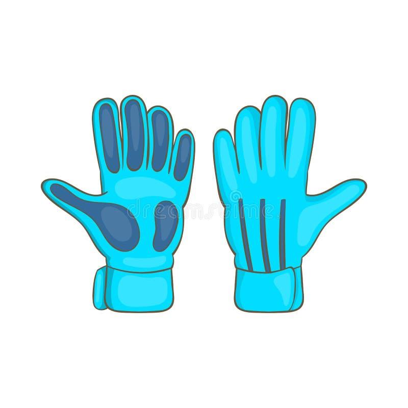 Futbolowe bramkarz rękawiczki ikony, kreskówka styl ilustracji
