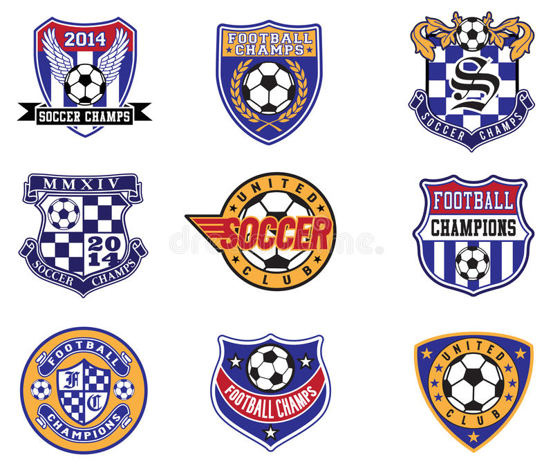 Futbolowe piłek nożnych odznaki, łaty i emblemata wektoru set, royalty ilustracja