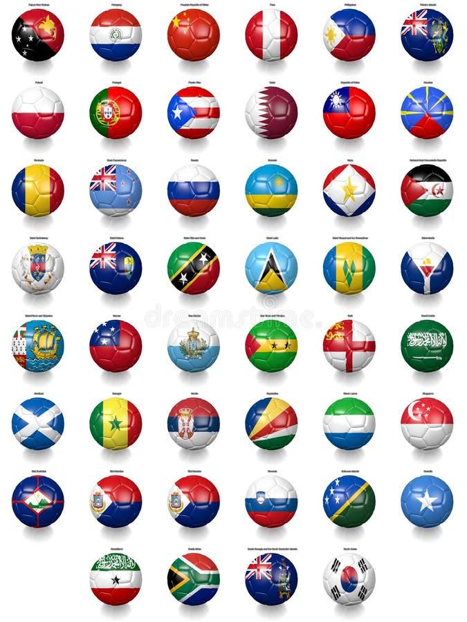 Futbolowe piłek nożnych piłki z flaga państowowa teksturami royalty ilustracja