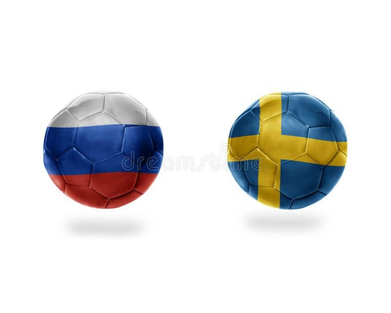 Futbolowe piłki z flaga państowowa Sweden i Russia ilustracji