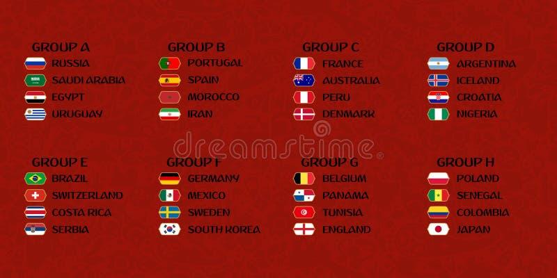 Futbolowe puchar świata grupy ilustracji