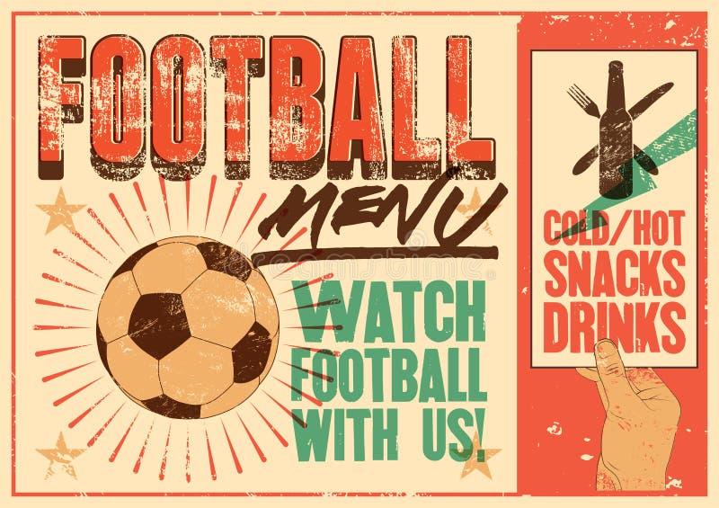 Futbolowego menu rocznika grunge stylu typograficzny plakat retro ilustracyjny wektora ilustracji