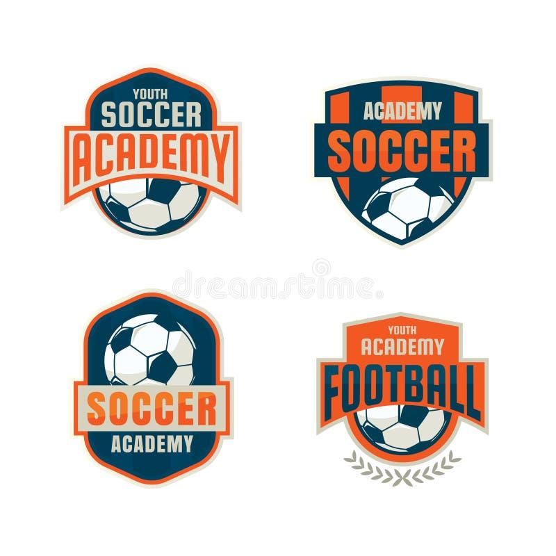 Futbolowego odznaka loga szablonu inkasowy projekt ilustracji