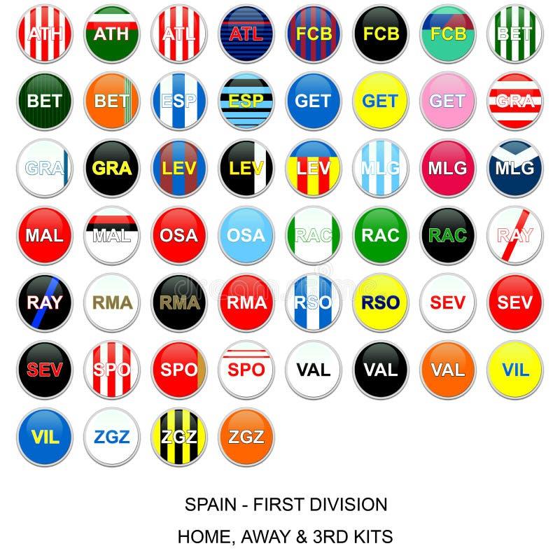 Futbolowego Zestawu Ligowe Spain Drużyny Zdjęcie Stock