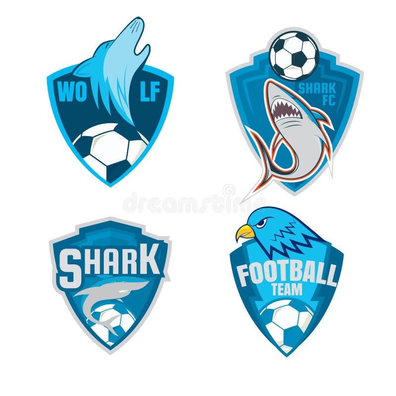 Futbolowej odznaka loga osłony inkasowy projekt, piłki nożnej drużyna, wektor ilustracji