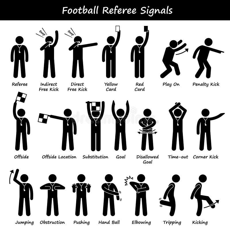 Futbolowi piłka nożna arbitrów urzędników ręki sygnały Cliparts ilustracja wektor