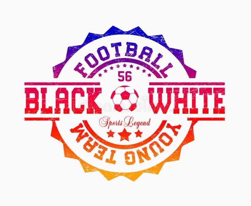 ?futbolowi potomstwa zespalaj? si? ?, ?czer? biel ?, ?sport legenda ? ilustracja wektor