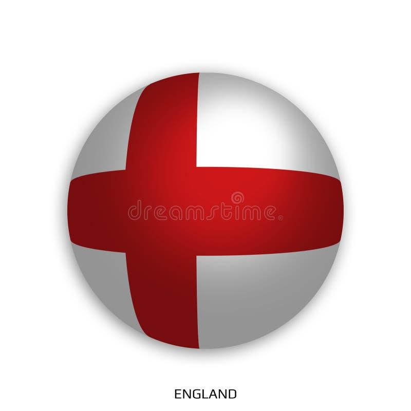 Futbolowy Światowy mistrzostwo z Anglia flaga robić round jako piłki nożnej piłka i odizolowywającą na bielu - opadowy cień ilustracji